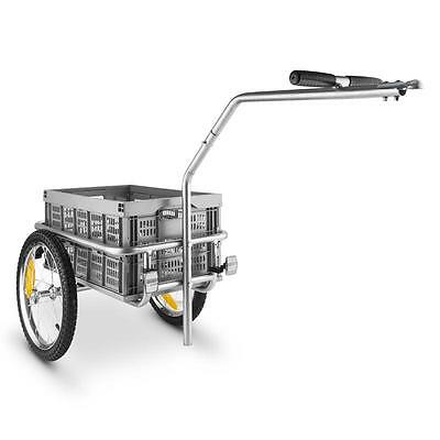 Steel Frame Bicycle Trailer Wagon Shopping Picnic Tour Dogs Travel Leisure Grey