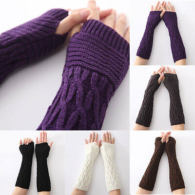 Women Arm Warmer Winter Long Fingerless Gloves Solid Color Knitted Mittens