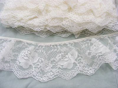 Gathered Ivory Lace x 4 metres  90mm wide (020)