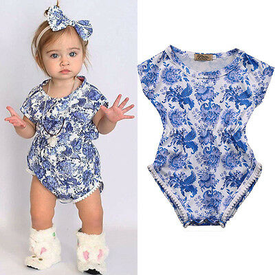 Chinese Style Newborn Baby Girls Floral Romper Jumpsuit Bodysuit Outfits Sunsuit