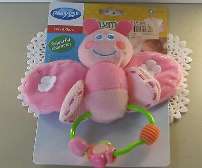 PLAYGRO Butterfly Click-Clack shape Play & Grow soft toy Pink BNWL