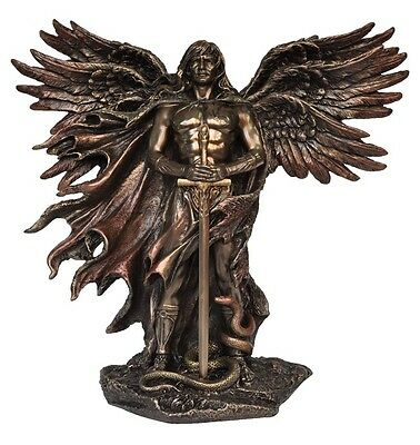 Six Winged Guardian Male Angel Veronese Bronze Figurine Statue