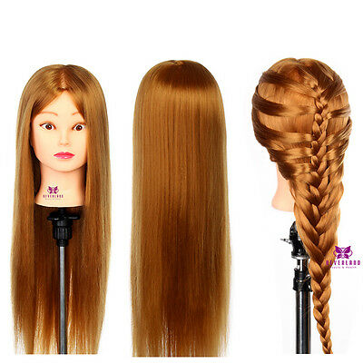 """Hairdressing Training head with 26"""" 30% Long Human hair Mannequin Doll + Clamp"""