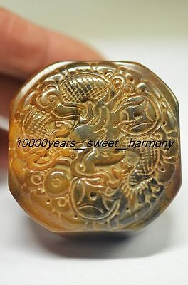 Exquisite Chinese old jade hand carved dragon seal   G19