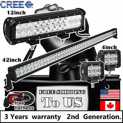 """42 inch LED Light Bar + 12"""" and 2x 4"""" CREE Led Pods Off Road Truck Jeep Ford 40"""