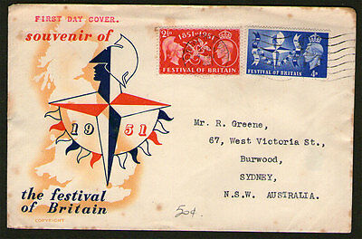 UK - 1951 - The Festival of Britian - FDC - Addressed