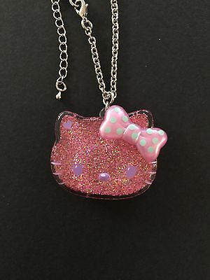 Hello Kitty glitter incased lucite Hello Kitty face necklace
