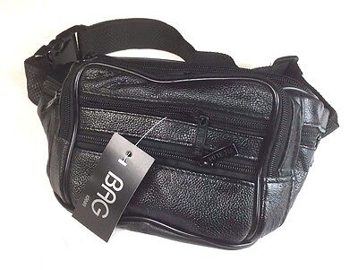 Leather Waist Pouch Bum Bag Black Travel Sport Bag With 7 Pockets new