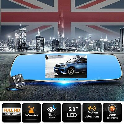 HD 1080P Car DVR Vehicle Camera Dash Dual Cam Recorder G-Sensor Night Vision