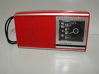 Vintage Red Sanyo AM Transistor Radio Model RP-3440 Works Hard Model To Find