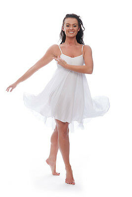 Ladies Girls White Plain Lyrical Dress Contemporary Ballet Dance Costume By Katz