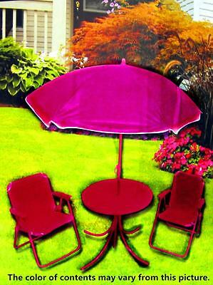 NEW Kid Outdoor Furniture Table Chair Umbrella 4 Pcs Patio Set (Purple)