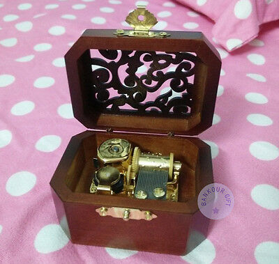 """Play""""Once Upon a December"""" Wooden Vintage Music Box With Sankyo Musical Movement"""