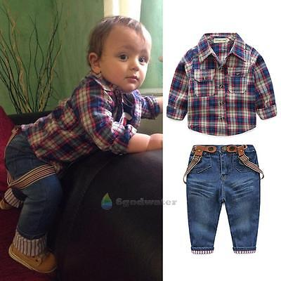 3pcs Toddler Kids Baby Boy Jacket + Grid Shirt + Jean Pants Clothes Outfits Set