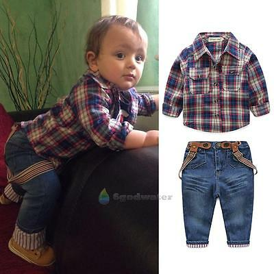 Fashion 3pcs Toddler Kids Baby Boy Jacket+Tops+Jeans Pants Clothes Outfits Set