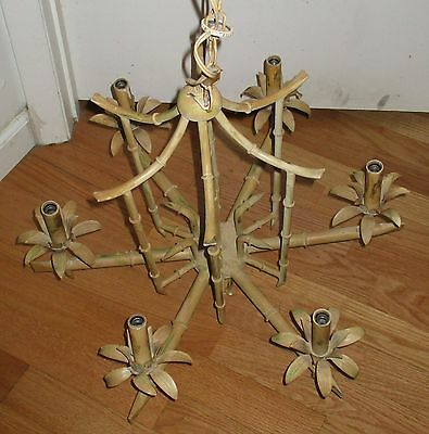 Vintage Hollywood Regency Faux  Bamboo Pagoda Chandalier 6 Arms