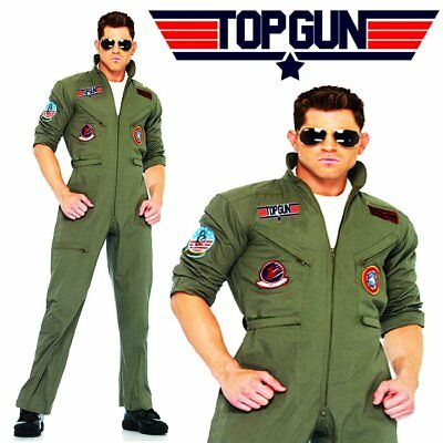 Top Gun Costume Mens Flight Uniform Aviator Fighter Pilot Jumpsuit Fancy Dress