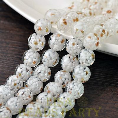 New 5pcs 12mm Lampwork Glass Dots Loose Spacer Round Beads Charms White