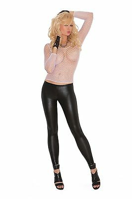 Ladies Fishnet Top Womens Mesh Long Sleeve Stretch PINK RED WHIT Size 8 10 12 14