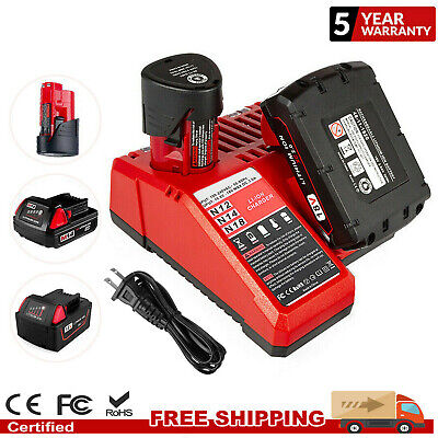 2x 2500mAh Battery For Milwaukee M12 Lithium 48-11-2401 &Charger 12V Power Tools