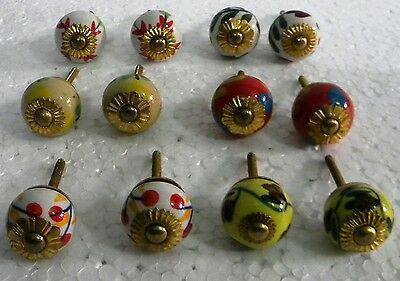Vintage style Multi Color Ceramic  Knobs Drawer / Door Handle Pulls Lot of  12