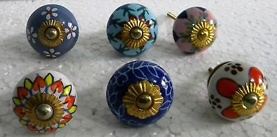 Vintage style Multi Color Ceramic  Knobs Drawer / Door Handle Pulls Lot of  6