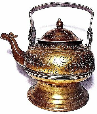Vtg Brass Water Wash Hand Washing Footed Kettle / Tea Coffee Pot Ornate Etched