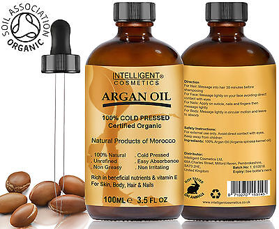 ARGAN OIL 100% Cold Pressed Pure Certified Organic Moroccan Argan Oil 100ml NEW