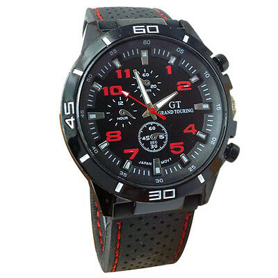 Montre Sport Racing Quartz Grand touring Rouge homme Bracelet silicone PROMO