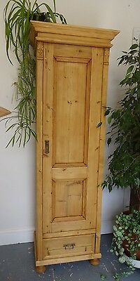 Vintage Tall Thin Wooden Cupboard Cabinet Right Hand Opening