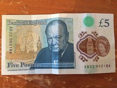 """New Bank Of England £5 Note Sir Winston Churchill """"A"""" Serial Number"""