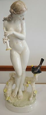 Hutschenreuther Selb Kunstabteilung Nude Woman / Nymp with Flute & Bird #1616