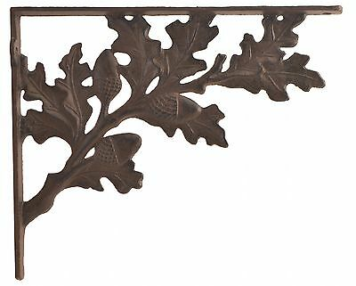 "Wall Shelf Bracket Oak Leaf Acorn Cast Iron Brace 11.25"" Leaves Leaf Crafting"