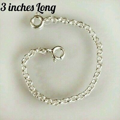 Sterling Silver necklace necklet extender safety chain 3 inches...