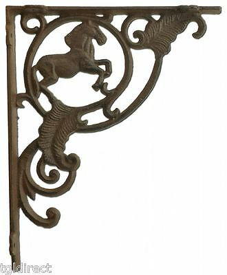 "Wall Shelf Bracket Horse Brace Crafting Custom Cast Iron Shelves 8"" Rust Brown"