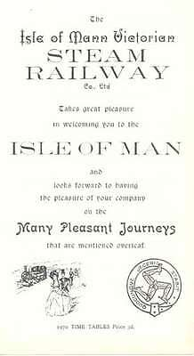 Isle of Man Steam 3' gauge narrow gauge railway 1970 4 side timetable Ballasalla