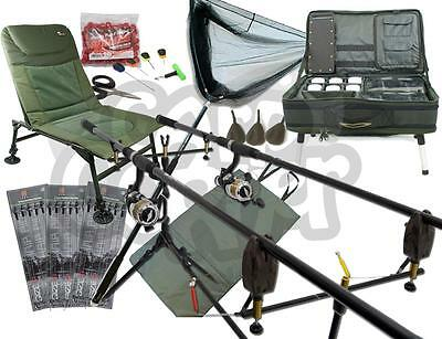 Carp Fishing 2 Rod And Reel Set Alarms Pod Bivvy Table System Mat Bait Net Chair