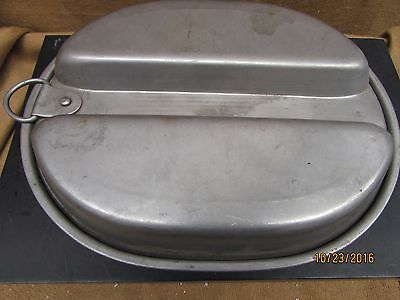 Us  Military Style Mess Kit Divided Tray & Lid / Heavy Steel No Markings