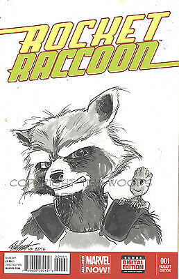 Rockett Raccoon Sketch Cover by Ted Woods--Rocket Raccoon and Baby Groot