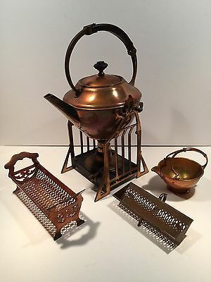 Antique 1914 Copper Manning Bowman Quality Teapot With Burner Creamer & 2 Trays
