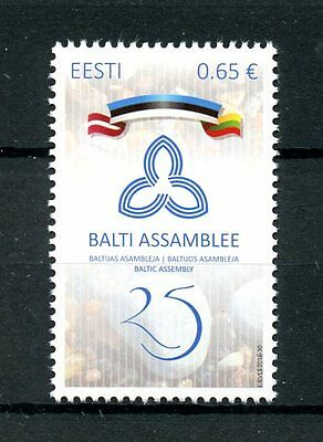 Estonia 2016 MNH Baltic Assembly 25th Anniv 1v Set Flags Stamps