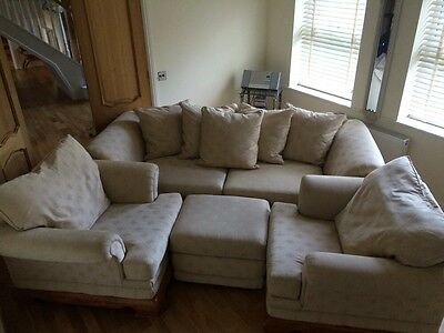 DFS 4 Piece Suite, 4 Seater Sofa, 2 Armchairs And Footstool