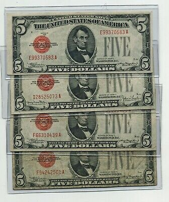 Lot Of 5 1963 $2.00 United States Red Seal Legal Tender Notes