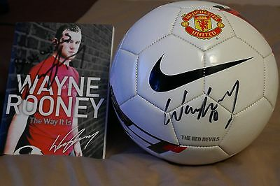 Hand Signed Wayne Rooney Football and Autobiography.