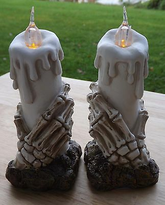 Skeleton hand candle holder ornaments , flickering light gothic style ornaments