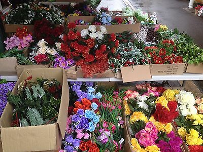 50 Flower & Greenery Bunches Joblot Artificial Christmas Wholesale Grave Posies