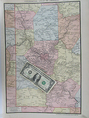 XL 1916 PITTSBURGH Vicinity Map. McNally COMMERCIAL. PA. Butler, Beaver Falls