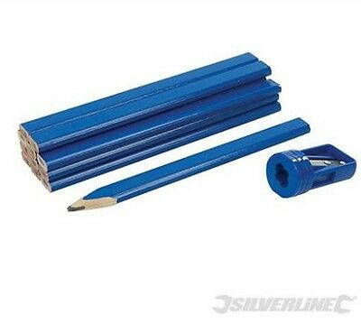 Silverline Carpenters Pencils & Sharpener Set 13pce Woodwork Timber marking
