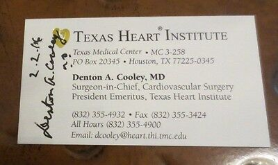 Denton Cooley MD heart surgeon Artificial heart transplant signed business card