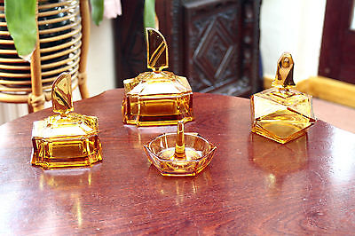 Art Deco - Vintage - set of  3 Amber  Glass Trinket boxes with lid + ring bowl